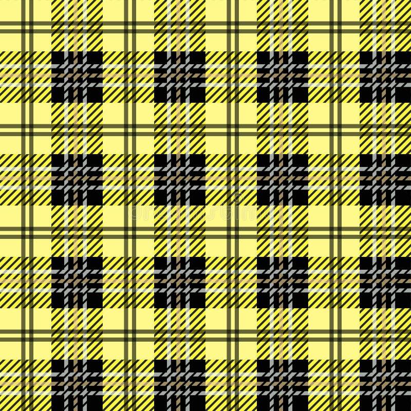 Tartan Wzór szkocki w klatce czarnej, białej i żółtej Klatka szkocka Tradycyjne szkockie tło szachowe Bez szwu ilustracji