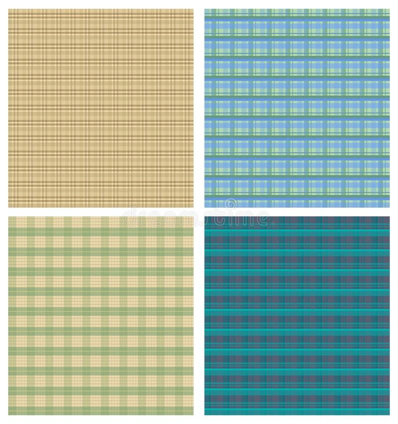 Tartanbakgrundsmärkduk, fyra rutiga bakgrunder i olika färgvarianter royaltyfri illustrationer