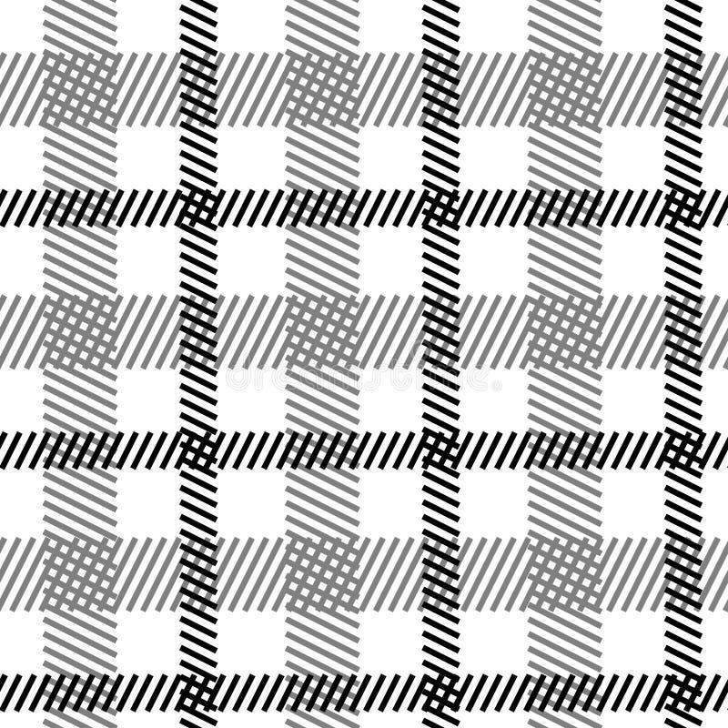 Tartanu czarny biały bezszwowy wzór royalty ilustracja