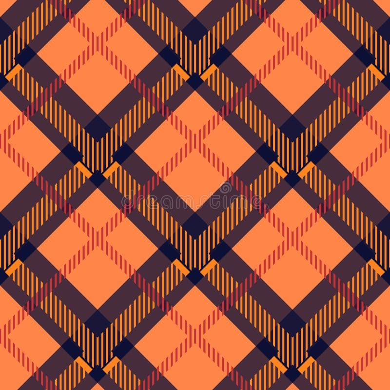 Tartanu wzór, tło, Szkockiej tradycyjnej tkaniny bezszwowy, pomarańczowy, błękitny i czerwony, ilustracji