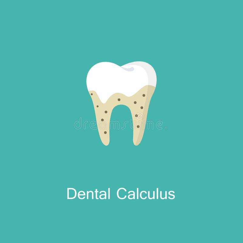 Tartar or calculus teeth illustration vector icon. Dental calculus with bacteria image. Tartar or calculus teeth flat vector icon. Dental concept. Medicine stock illustration