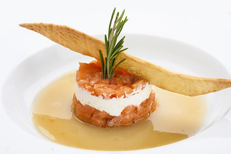 Tartar of salmon with soft cheese royalty free stock image