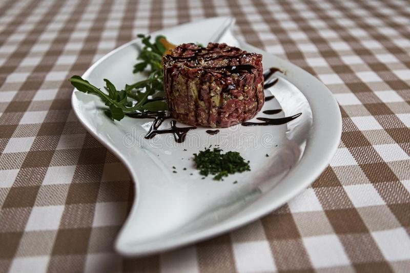 Beef tartare a summer appetizer to serve cold stock photos