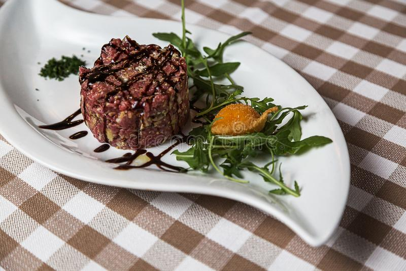 Beef tartare a summer appetizer to serve cold royalty free stock photos