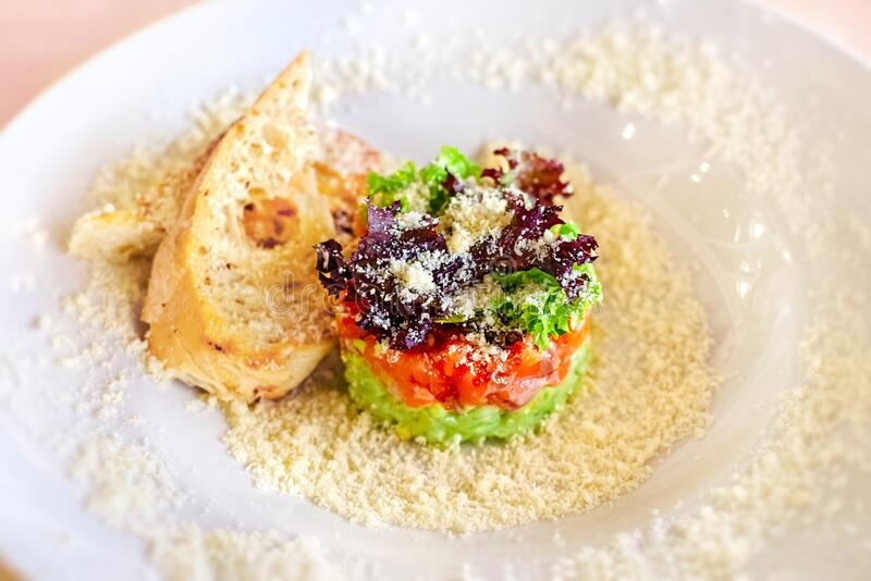 Tartare with salmon and parmesan stock photo