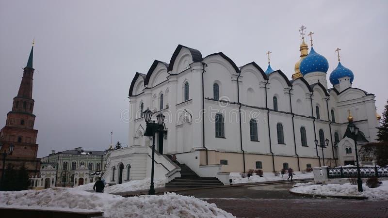Tartarist?n kazan La catedral ortodoxa de Blagoveshchensk de Kaz?n el Kremlin es un monumento prominente de la arquitectura rusa  imagen de archivo libre de regalías