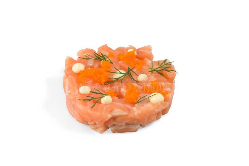 Tartaro di color salmone del ` di modo dei sushi del ` saporito immagine stock
