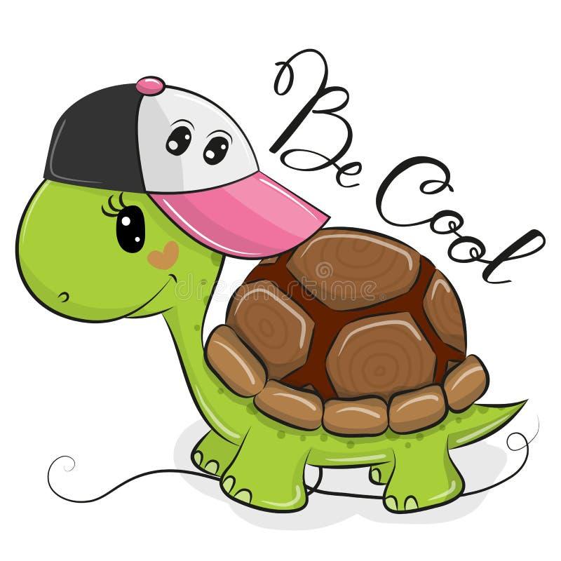 Tartaruga bonito com um tampão cor-de-rosa ilustração do vetor