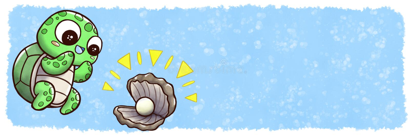 Tartaruga che trova ostrica con la perla - dimensione dell'insegna con il fondo subacqueo dell'acquerello illustrazione vettoriale