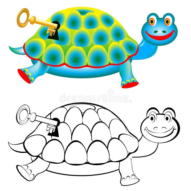 Tartaruga colorida e preto e branco do teste padrão ilustração stock