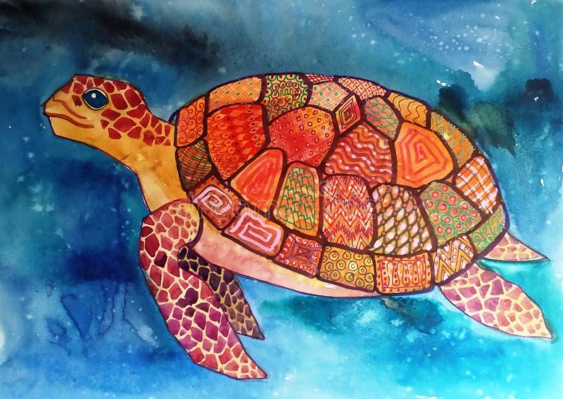 Tartaruga com testes padrões geométricos imagem de stock
