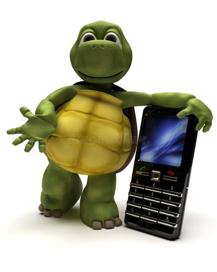 Tartaruga com um telefone de pilha ilustração do vetor