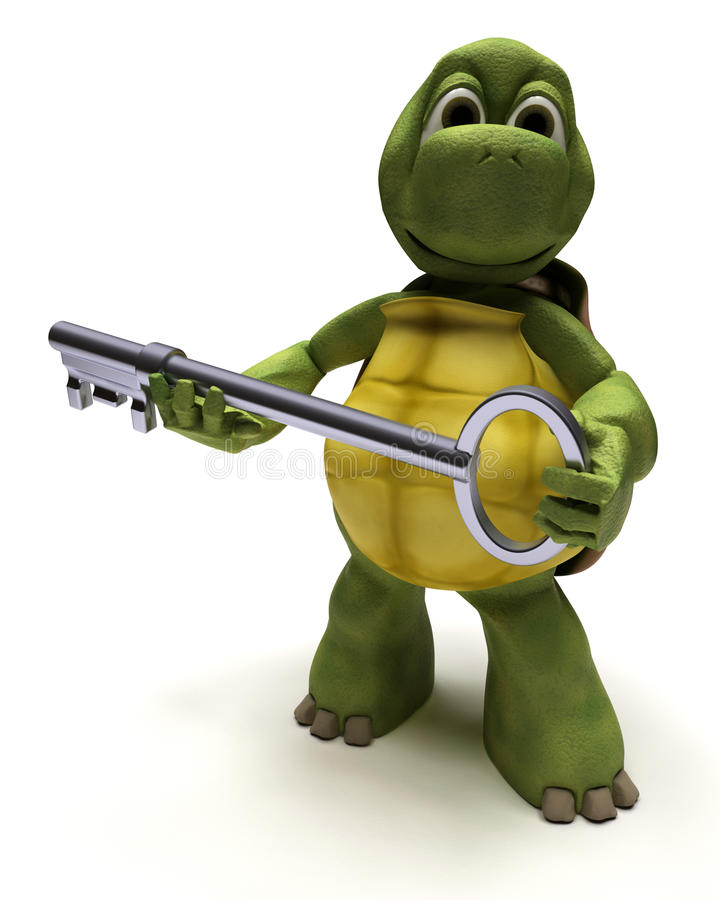 Tartaruga com uma chave ilustração do vetor