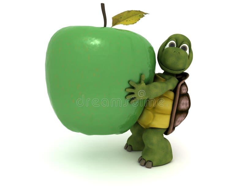 Tartaruga com uma maçã ilustração royalty free