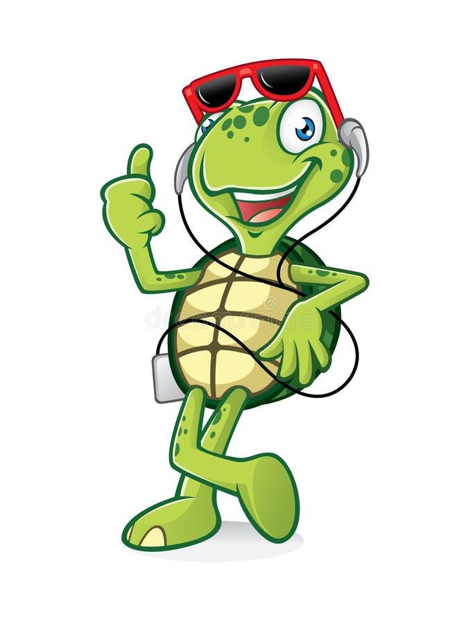 Tartaruga con il trasduttore auricolare illustrazione di stock