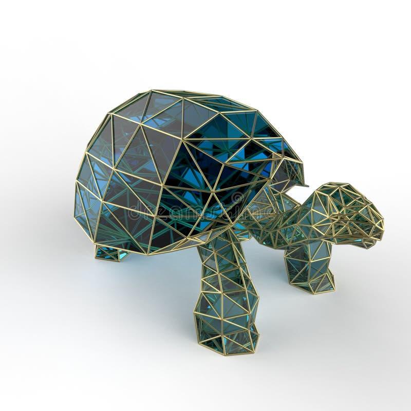 A tartaruga de cristal luxuosa brilhante de Galápagos da safira com bordas moldou o fio dourado, isolado ilustração do vetor