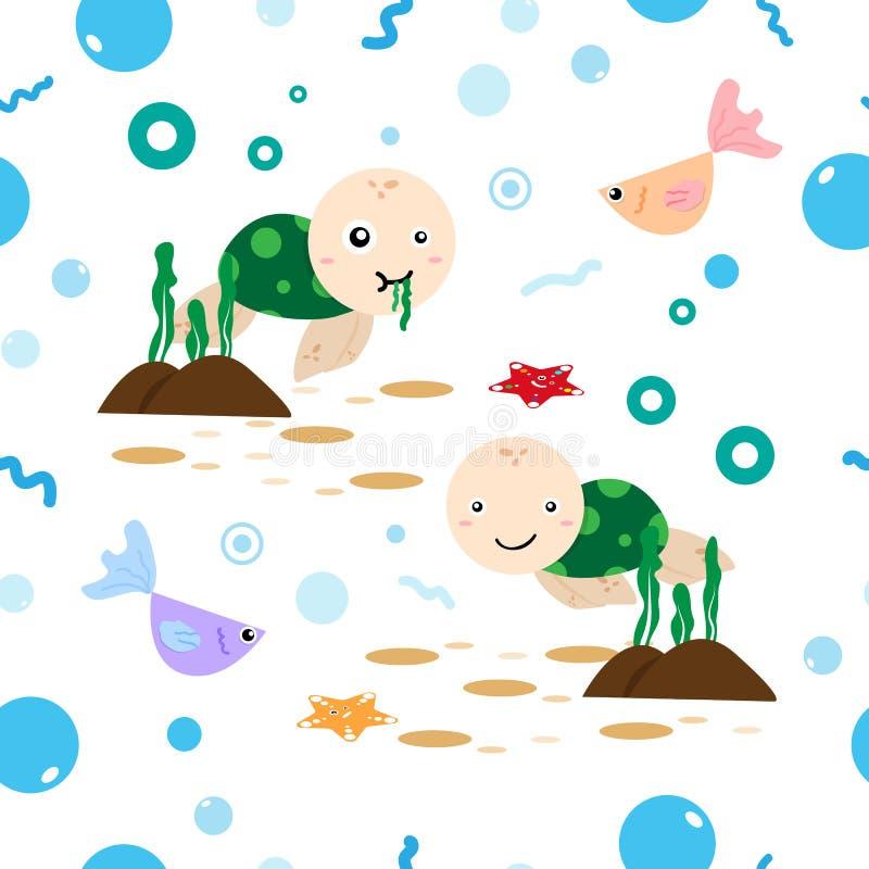 Tartaruga de mar, alga, estrela do mar e peixes nos desenhos animados bonitos do oceano ilustração do vetor