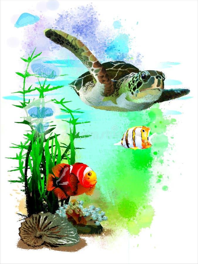 Tartaruga de mar e peixes tropicais no fundo abstrato da aquarela ilustração royalty free
