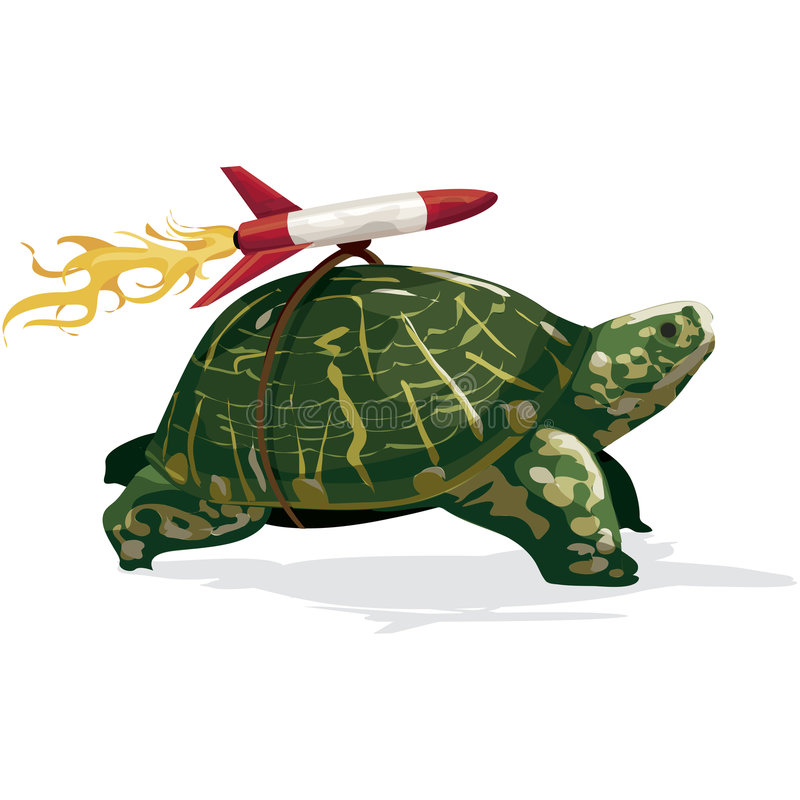 Tartaruga de Rocket com trajeto de grampeamento ilustração do vetor