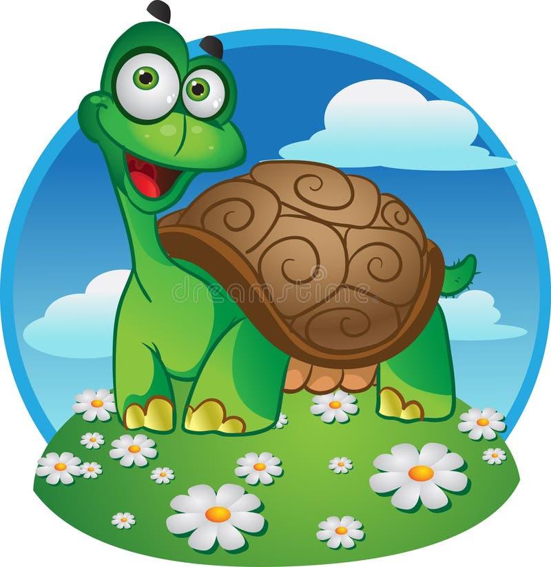 Tartaruga de sorriso do divertimento em um fundo da cor ilustração stock