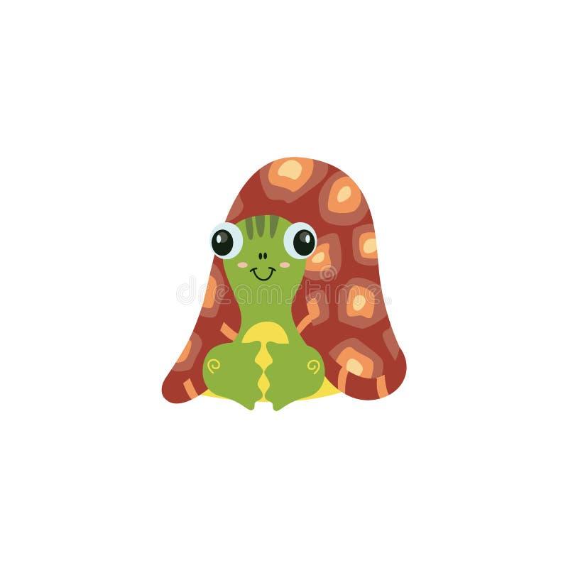 Tartaruga del fumetto con pelle verde e grandi le coperture marroni che si trovano sulla terra nella posa e nel sorridere saggi illustrazione vettoriale