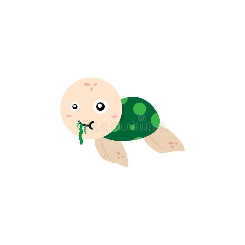 Tartaruga di mare che mangia il fumetto dell'alga per i bambini isolati sul BAC bianco illustrazione vettoriale