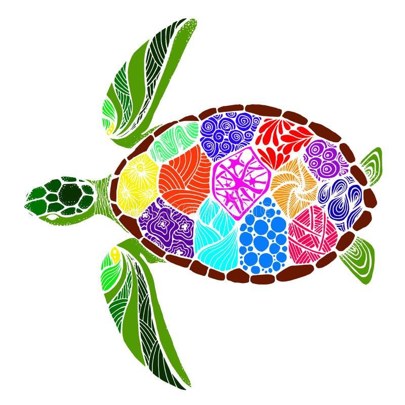 Tartaruga di mare nello stile di zentangle fotografie stock