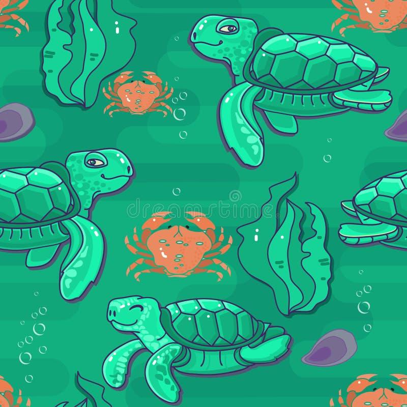 Tartaruga di mare sveglia del fumetto Vector il reticolo senza giunte royalty illustrazione gratis