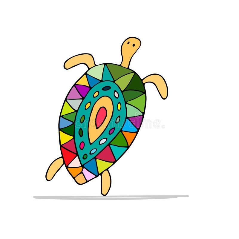 Tartaruga divertente di dancing, schizzo per la vostra progettazione illustrazione di stock