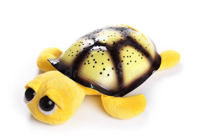 Tartaruga do amarelo do brinquedo das crianças isolada no fundo branco fotografia de stock royalty free