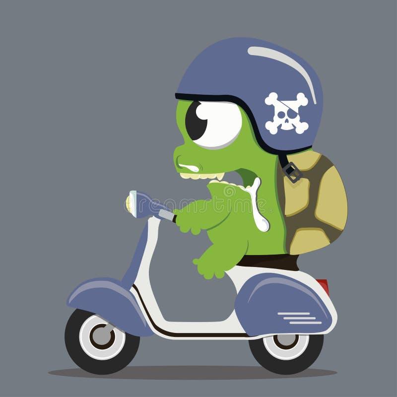 Tartaruga do monstro na motocicleta ilustração do vetor
