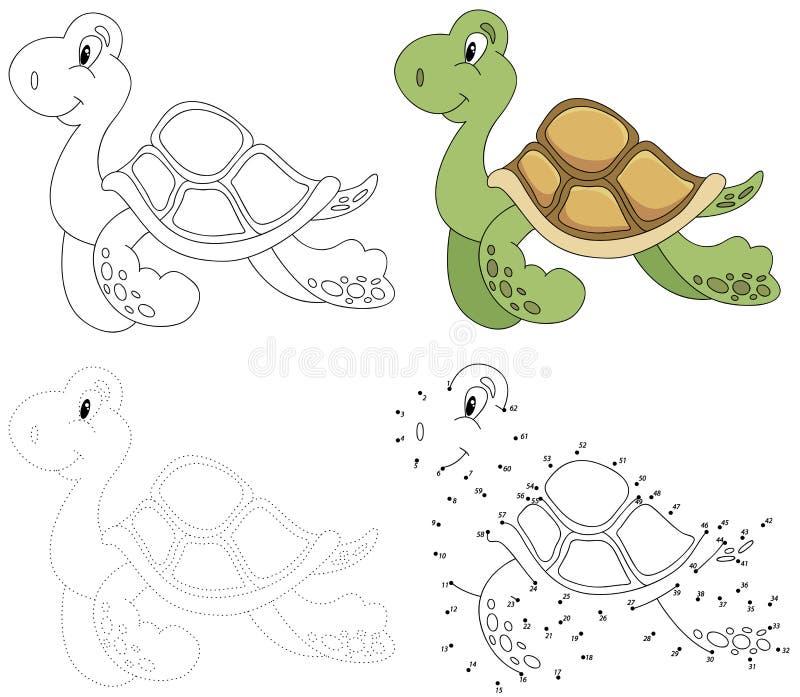 Tartaruga dos desenhos animados Ilustração do vetor Ponto para pontilhar o jogo para crianças ilustração do vetor
