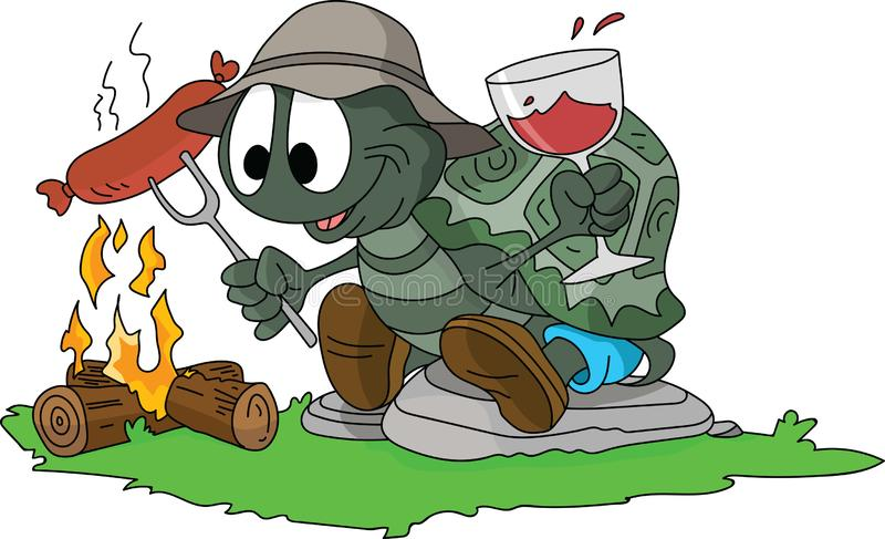 Tartaruga dos desenhos animados que cozinha salsichas no fogo e que bebe o vinho na floresta, acampando apenas vetor ilustração royalty free