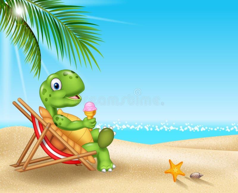 Tartaruga dos desenhos animados que relaxa na praia ilustração do vetor