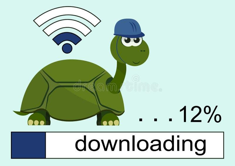 Tartaruga dos desenhos animados que veste um capacete Barra de carga Ícone dos Wi Fi ilustração stock