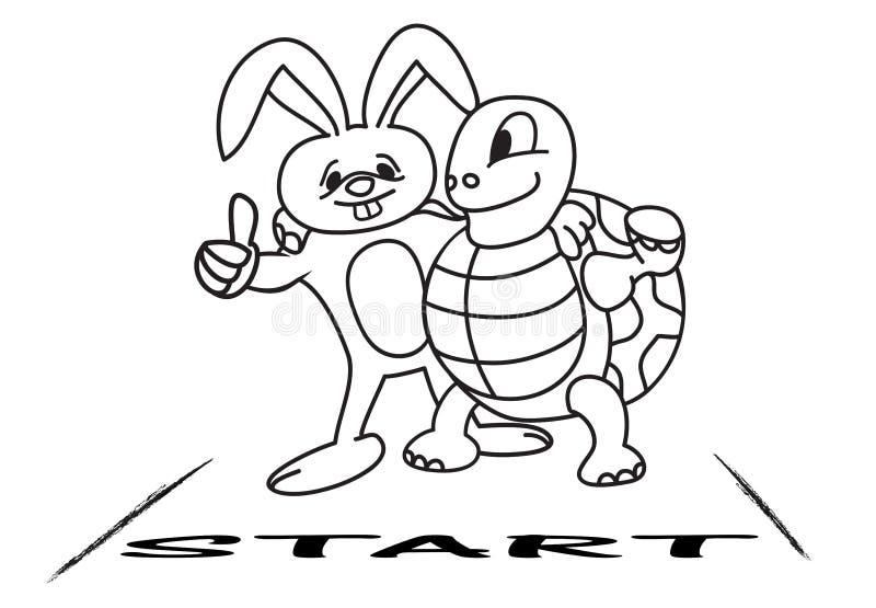 Tartaruga e lebre na linha começar ilustração do vetor