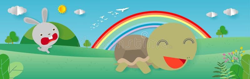 Tartaruga e a lebre, a tartaruga e o coelho competindo junto para ganhar, estilo liso isolados no fundo Arte de papel ilustração royalty free