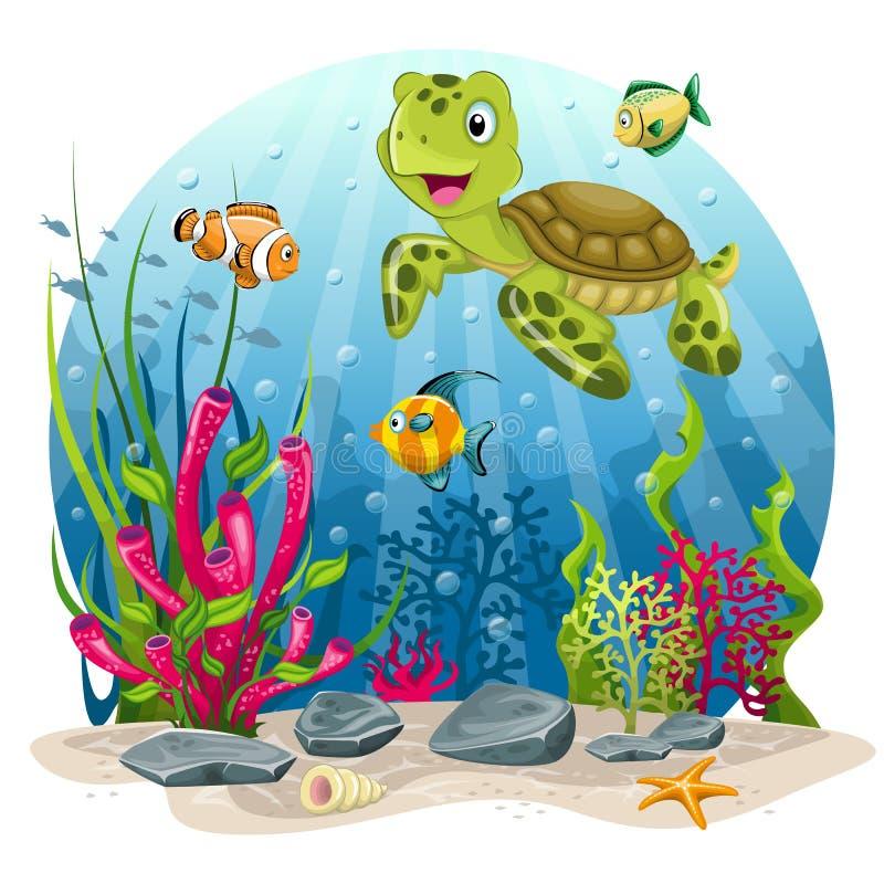 Tartaruga e peixes no mar ilustração royalty free