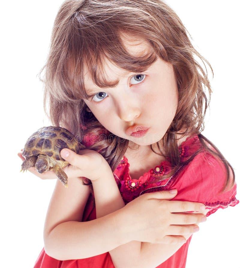 Tartaruga e una ragazza fotografia stock