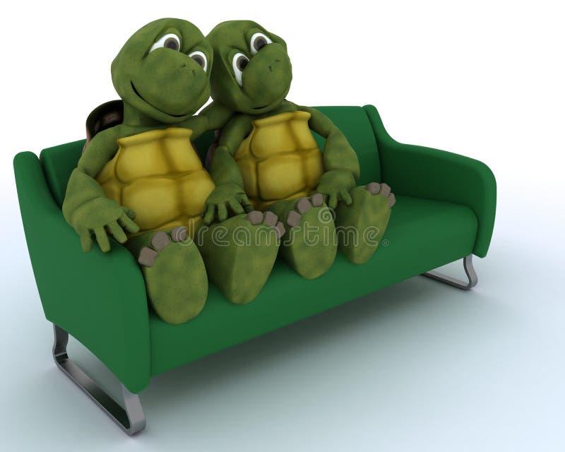 Tartaruga em um sofá ilustração stock