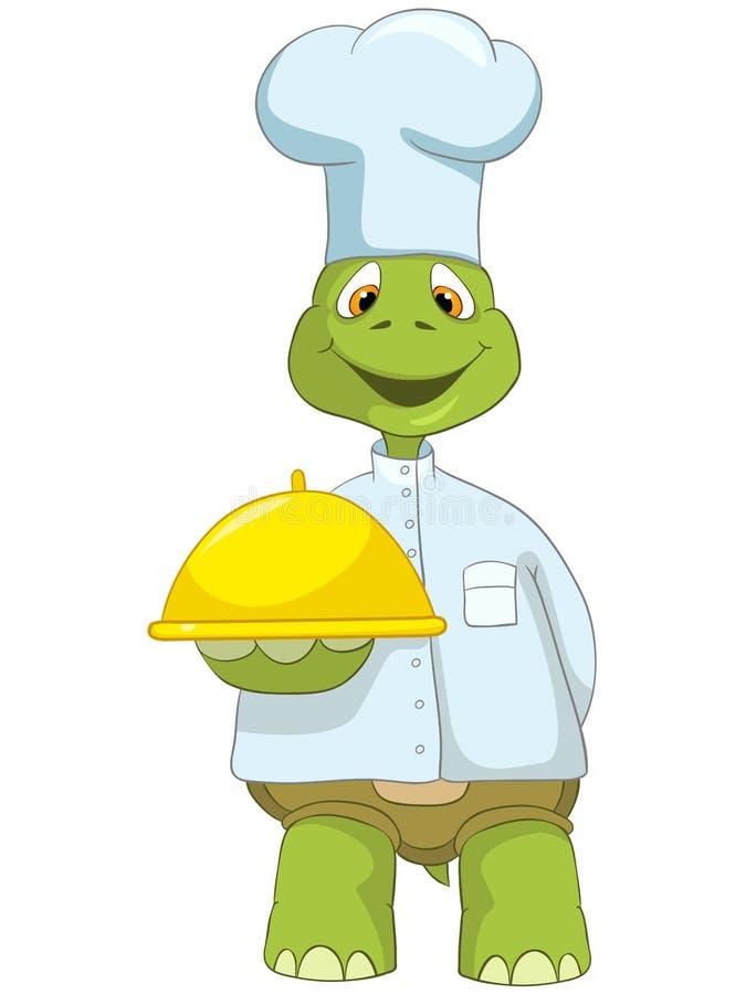 Tartaruga engraçada. Cozinheiro chefe. ilustração royalty free