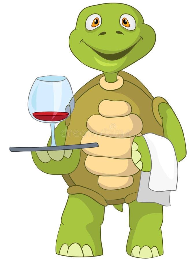 Tartaruga engraçada. Garçom. ilustração stock