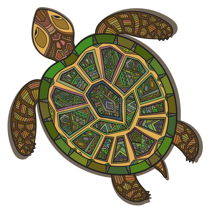 Tartaruga ornamentale decorativa con il segno modello - Pagine di colorazione tartaruga ...
