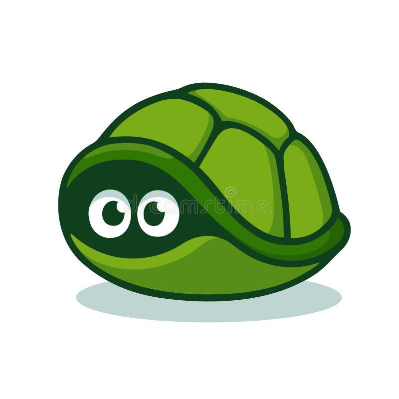 Tartaruga que esconde no shell ilustração do vetor