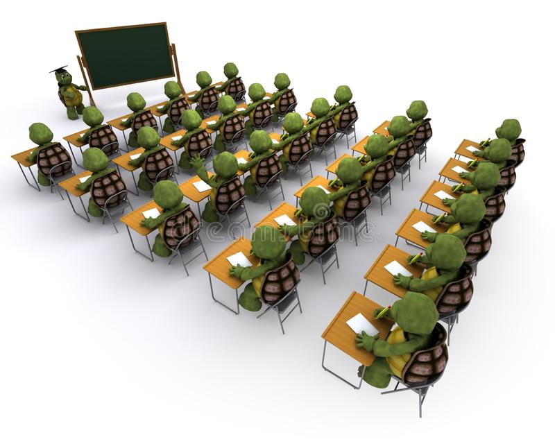 Tartaruga sentada na mesa da escola ilustração royalty free