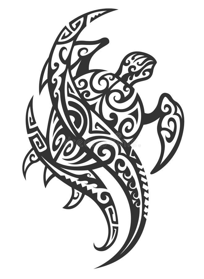 Tartaruga tribal com onda ilustração royalty free