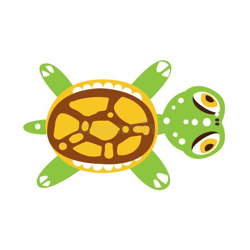 Tartaruga verde com as aletas para fora esticadas ilustração royalty free