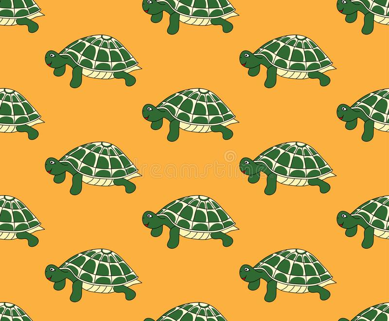 Tartaruga verde sem emenda no fundo amarelo Ilustração do vetor ilustração do vetor
