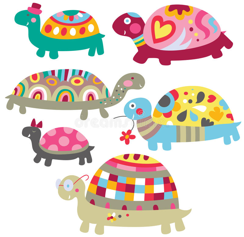 Tartarugas bonitos ilustração stock