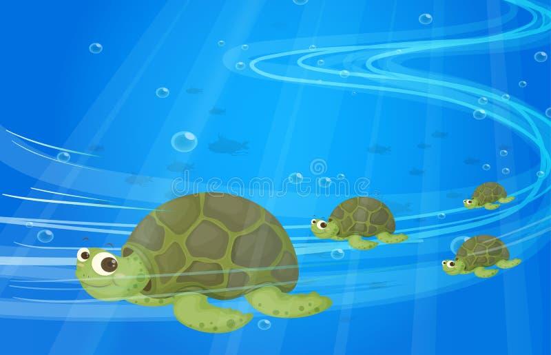 Tartarugas sob o mar ilustração do vetor